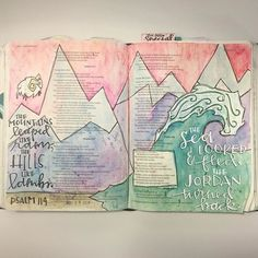 """""""The sea looked back and fled the Jordan turned back; the mountains leaped like Rams the hills like lambs."""" Psalm 114:3-4. What a cool description of the affect the hand of God had on the earth.   ##illustratedfaith #illustratedfaithdaily2016 #illustratedfaithcommunity #biblejournaling #biblejournalingcommunity #journalingbible #journalingbiblecommunity #illustration #watercolor #handlettered #moderncalligraphy #uniballsigno #sea #ocean #wave #oceanwave #mountains #paintallthemountains…"""