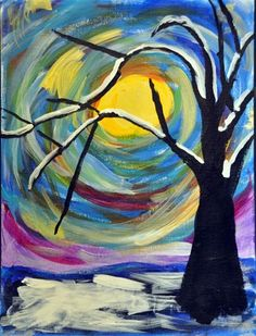 Check out student artwork posted to Artsonia from the Winter Tree project gallery at Kids Love Art. Middle School Art Projects, School Painting, Winter Art Projects, Winter Trees, Winter Sky, Winter Painting, Noel Christmas, Art Lesson Plans, Art Classroom