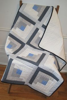 "Image of ""Blue Log Cabin"" Baby #Quilt @Stitch_Handmade"