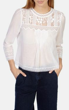 Buy Karen Millen Pretty Vintage Blouse, White from our Women's Shirts & Tops range at John Lewis & Partners. Mode Chic, Mode Style, Blouse Styles, Blouse Designs, Karen Millen, Mode Top, Beautiful Blouses, Blouse Vintage, White Shirts