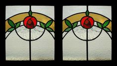 Stunning Pair Mackintosh Rose Antique Stained Glass Windows   eBay