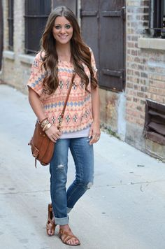Boho shirt, distressed jeans, flat strappy sandals, cross body bag