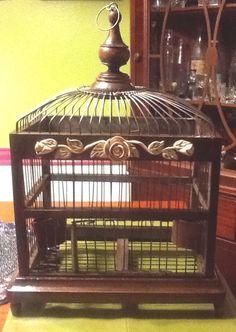 Antique Wood Metal Wire BIRD CAGE Birdcage Birdhouse Old Vtg