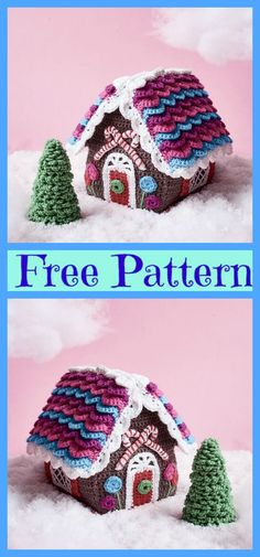 Crochet Candy Cottage Gingerbread Houses - Free Pattern Artificial fir tree as Christmas decoration? A synthetic Christmas Tree or perhaps a real one? Christmas Crochet Patterns, Holiday Crochet, Crochet Home, Crochet Crafts, Yarn Crafts, Crochet Projects, Free Crochet, Diy Crafts, Crochet Poncho