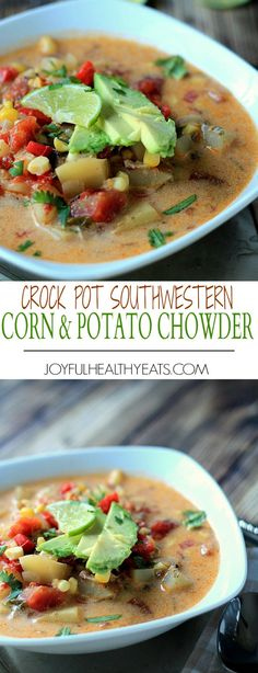 I'm not ashamed that I licked the bowl on this one! Crock Pot Southwestern Corn & Potato Chowder, filled with chipotle peppers, bacon, coconut milk and the rich flavor from potato soup everyone loves! | joyfulhealthyeats.com #recipes