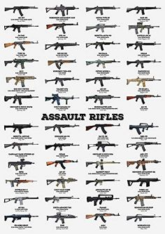 Zapista Assault Rifles Art Print Selective Fire Weapons Poster Military Army Gifts Home Wall Decor Unframed x Military Weapons, Military Army, Military Aircraft, Weapons Guns, Guns And Ammo, Poster Prints, Art Prints, Posters, Army Gifts