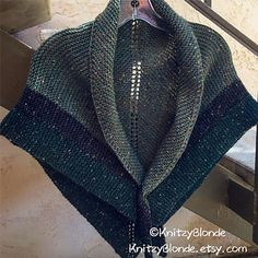 """I designed this Claire's Rent Shawl to be a replica of the Shawl as worn by the character Claire of the TV show """"Outlander"""". It is a lovely triangle shawl with striped color work using Intarsia."""