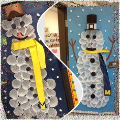 Snowman class decor!! Winter wonderland.  Made with Cupcake liners.  #winter crafts