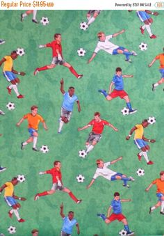 Clearance SALE Cotton Fabric, Quilt, Home Decor,Sports Soccer Players,Timeless Treasures #GM-C2845, Fast Shipping, S109
