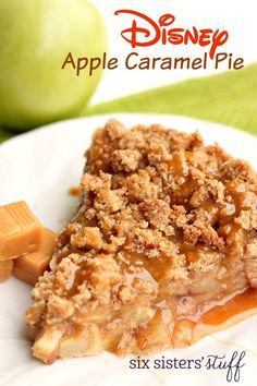 You can find this delicious Apple Caramel Pie in Disney World at the Whispering Canyon Cafe in Disney's Wilderness Lodge. You will love the sugar cookie bottom, apple filling with cinnamon spices, a delicous crunchy topping and then coated with caramel!  It would be perfect for your Thanksgiving and holiday dinner dessert!  And the best part is that it's so very easy to make!