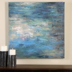 Colorful pastels are used in this hand painted artwork on canvas that is stretched and attached to wooden stretching bars. Due to the handcrafted nature of this artwork, each piece may have subtle differences.