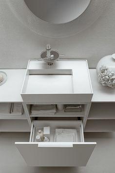 Kartell by Laufen Ambience. #Storage #WhiteBathroom #InteriorDesign @LaufenBathroom