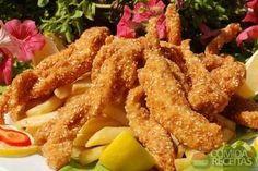 Receita de Isca de frango empanado em receitas de aves, veja essa e outras receitas aqui!