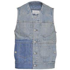 Maison Margiela Patchwork Denim Vest ($616) ❤ liked on Polyvore featuring men's fashion, men's clothing, men's outerwear, men's vests, mens vest, mens sleeveless vest, mens blue denim vest, mens vest outerwear and mens blue vest