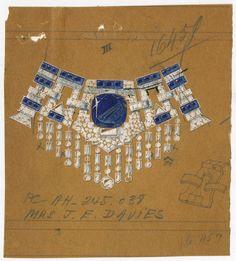 Croquis du collier Cartier en platine, diamants et saphirs de Marjorie Merriweather Post http://www.vogue.fr/joaillerie/a-voir/diaporama/joaillerie-bijoux-cartier-de-marjorie-merriweather-post-exposition-hillwood-estate-museum-gardens-washington-dc/19183/image/1011538#!croquis-du-collier-cartier-en-saphirs-de-marjorie-merriweather-post