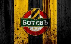 Download wallpapers 4k, FC Botev Plovdiv, grunge, Parva Liga, soccer, football club, Bulgaria, Botev, logo, art, stone texture, Botev Plovdiv FC