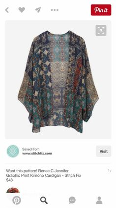 I love the idea of a kimono jacket as a lightweight layering piece. Renee C Jennifer Graphic Print Kimono Cardigan - pin Kimono Cardigan, Kimono Jacket, Kimono Top, Cardigan Pattern, Look Fashion, Autumn Fashion, Fashion Outfits, Mode Style, Style Me
