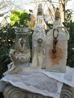 vintage  bottles dressed up for company