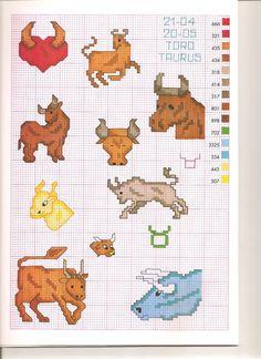 Zodiac Taurus Free Cross Stitch Motif Patterns