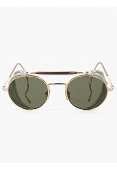 Thom Browne Men s Gold Sunglasses Sonnenbrille Mit Rundem Gestell, Goldene  Sonnenbrille, Nick Wooster, 5aea05ff57