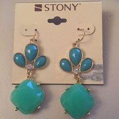 "New Stony Gold Green Turquoise Dangle 2.5"" X 1"" Fashion Earrings #Stony #DropDangle"