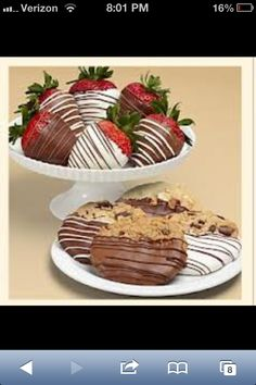 These are strawberries and cookies dipped in chocolate.