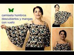 DIY:CAMISETA DE HOMBRO DESCUBIERTO Y MANGA CON VUELO - YouTube