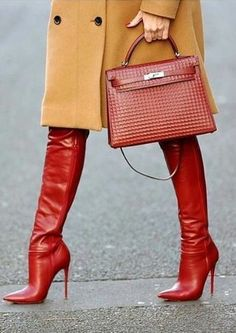 Chic red boots.