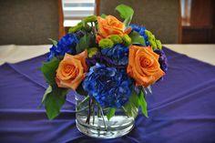 dark blue hydrangea & orange roses - Google Search