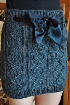 """""""Cables and Curves"""" Cable Knit Skirt"""
