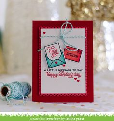 Lawn Fawn - Love Letters, Fancy Scalloped Rectangle Stackables _ card by Latisha