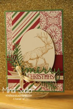Christmas Cards Stampin Up! - The Wilderness Awaits Stamp Set, Oh what fun Stamp Set, Pretty Pines Thinits, Christmas Greeting Thinlits and This Christmas specialty DSP.