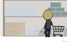 Day 8: Shopping (Destiel version)[Gif] by ~Nile-kun on deviantART
