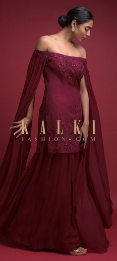 Currant Red Palazzo Suit With Short Off Shoulder Kurti Having Extended Floor Length Sleeves Online - Kalki Fashion Pakistani Dresses, Indian Dresses, Indian Outfits, Red Chiffon, Chiffon Dress, Off Shoulder Kurti, Sharara Suit, Salwar Kameez, Floor Length Anarkali