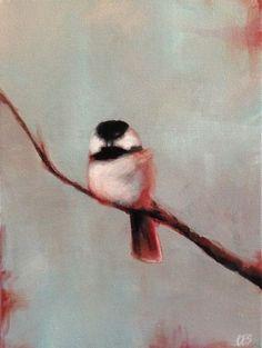 Original PAINTING CES- Chickadee Bird Winter Branch Abstract Blue Red EBSQ Art #MyStyle
