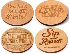 Laser Cut Wood Coaster - Set of 4 - Funny Wine Sayings by LaserMadeUSA