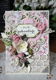 """2"""" X 3"""". 4 IN THE PINK ROMANCE BUTTERFLIES DELICATE LACEY CARDS SCRAPBOOKS"""