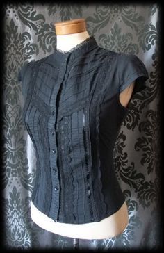 Goth Black Cotto Lace Detail VICTORIAN GOVERNESS High Neck Blouse 8 10 Steampunk - £19.00