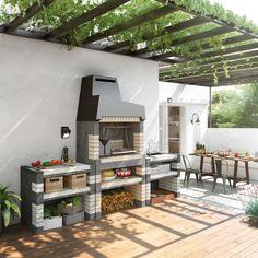 Olha que churrasqueira de tijolo cheia de estilo. Small Backyard Design, Outdoor Kitchen Design, Patio Design, Small Courtyard Gardens, Small Courtyards, Barbecue Garden, Barbecue Design, Design Exterior, Porch And Terrace