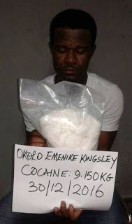 Officers of the National Drug Law Enforcement Agency (NDLEA) over the weekend arrested a 34 year old Enugu man attempting to smuggle cocaine valued at 3.8million into the country. The suspect who goes by the name; Okolo Emenike Kingsley was arrested at the at the Nnamdi Azikiwe International Airport (NAIA) Abuja... This man get mind sha o In a statement signed by Mr. Mitchell Ofoyeju spokesman to the anti-narcotics agency the NDLEA said that the illicit drug which was discovered stuffed in…