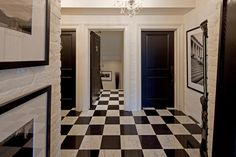 contemporary entry by Peter A. Sellar - Architectural Photographer    Black paint on (what could be) Carrara molded high density fiberboard interior doors.