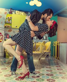 Rockabilly couple.  Save the day. Wedding photoshooting. 1950.