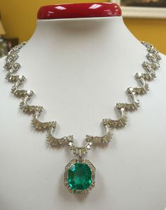 Estate 11.46 ct. Emerald, 30 tcw. Diamond, 18k Gold Necklace AGL Cert. #VCA #Pendant
