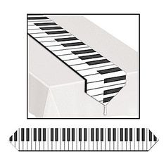 Our Printed Piano Keyboard Table Runner is made of paper with piano keys across the length. Each table runner is 11 inches wide x 6 feet long