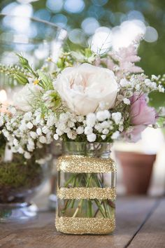 Glitter Jar Flowers Decor Table Pink Rustic Tipi Woodland Wedding http://kerryannduffy.com/ #GlitterDecor