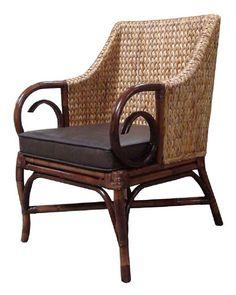 Rattan Chair w/leather cushion