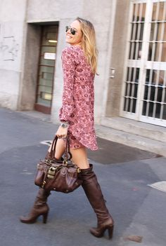 Evergreen Clothes  , H in Dresses, Miu Miu in Boots, Chloe in Bags, Ray Ban in Glasses / Sunglasses