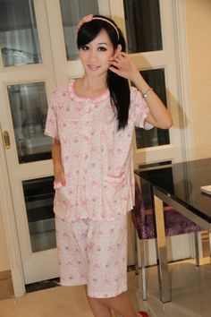 Summer Floral Print Crew Neck Short Sleeves Women's Pajama Set on BuyTrends.com, only price $23.25