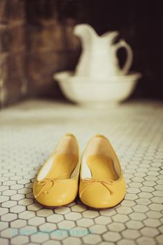 yellow j crew flats for brides wedding shoes