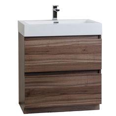 "29.5"" Contemporary Bathroom Vanity Set in Walnut Optional MirrorTN-LY750-WN - Conceptbaths.com"